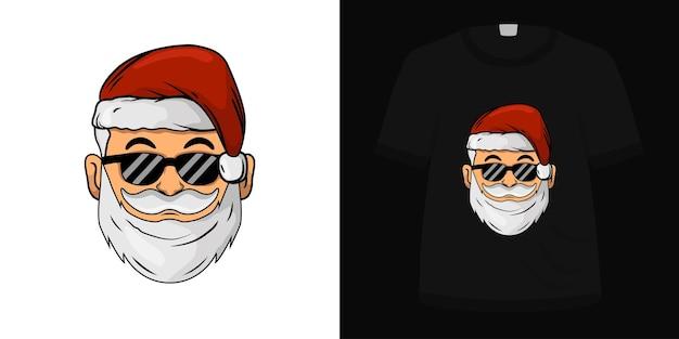 Иллюстрация головы санта для дизайна футболки