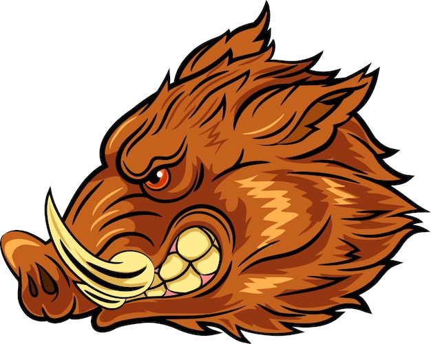 Illustration of head wild boar mascot