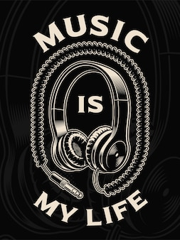Illustration of headphones with wire on the dark background. text is on the separate group.