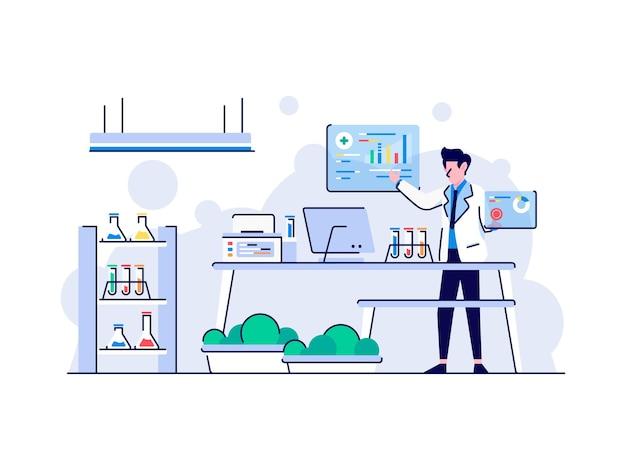 Иллюстрация здоровье и медицинский и лабораторный анализ крови, моча, проверка с помощью современного оборудования