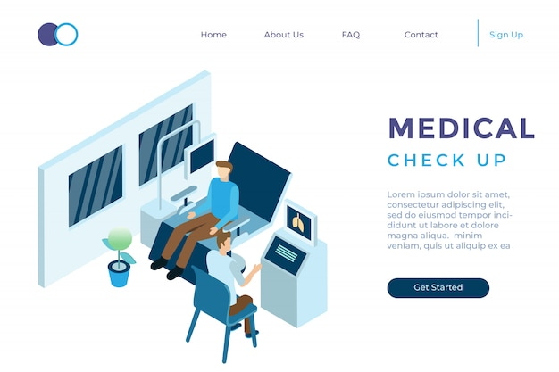 Illustration of health check-up to the doctor at the hospital in isometric 3d style