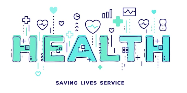 Illustration of health green word typography with line icons and tag cloud health care