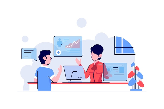 Illustration health and in hospital administration customer service