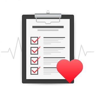Illustration of healthcare concept with cool check list on clipboard and red stethoscope.