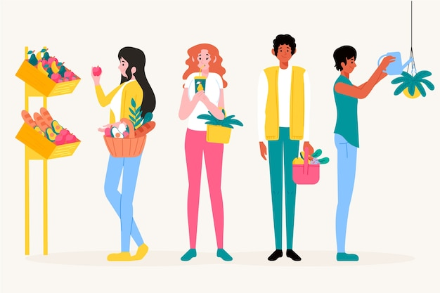 Illustration of healthy lifestyle people