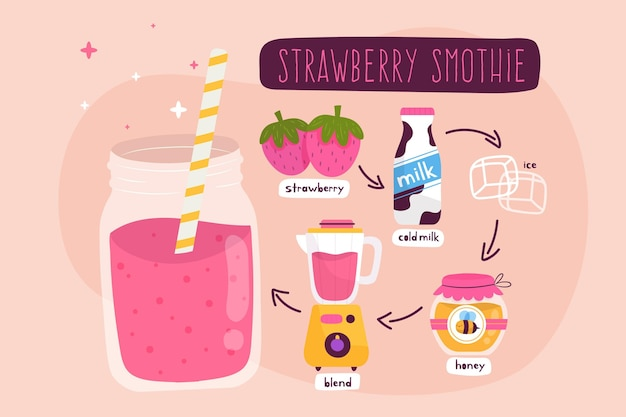 Illustration of healthy strawberry smoothie recipe