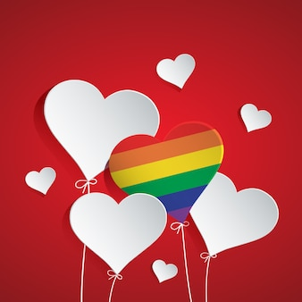 Illustration of heart balloon for lgbt