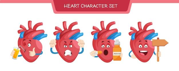 Illustration of heart character set