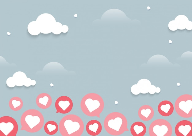 Illustration of heart flying on light background with chat concept