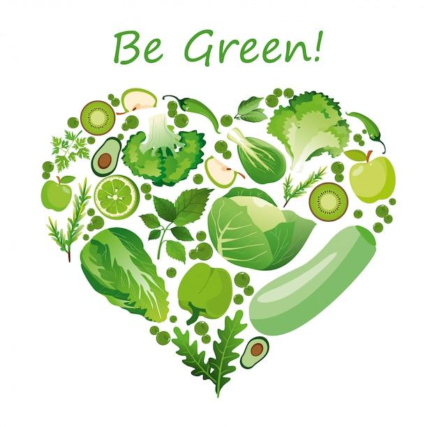 Иллюстрация сердце формы зеленых фруктов и овощей. здоровое питание органическая концепция в плоском стиле.