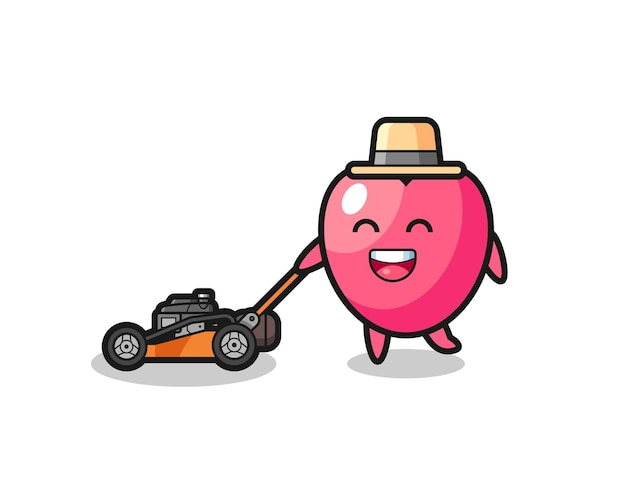 Illustration of the heart symbol character using lawn mower , cute style design for t shirt, sticker, logo element