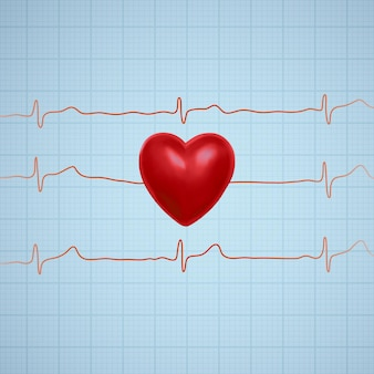 Illustration of heart with ecg graph line.