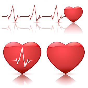 Illustration of hearts with heartbeat