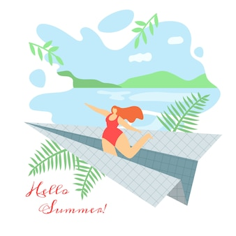Illustration hello summer lettering flat