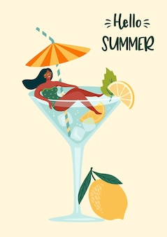 Illustration of hello summer with woman in swimsuit in a cocktail glass