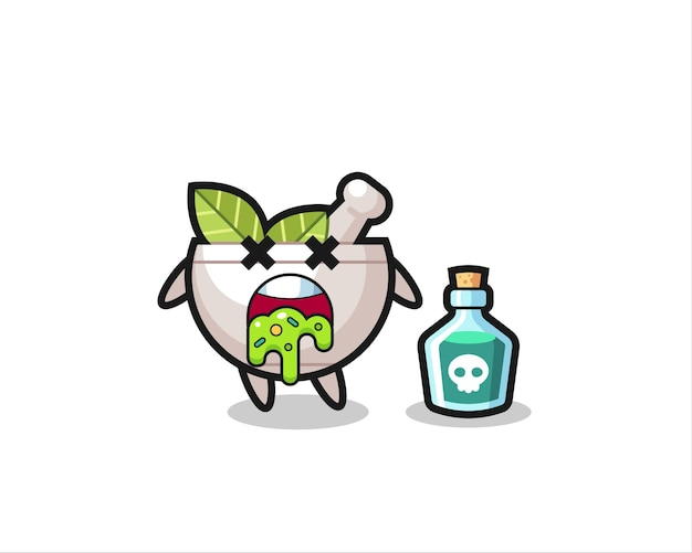 Illustration of an herbal bowl character vomiting due to poisoning , cute style design for t shirt, sticker, logo element