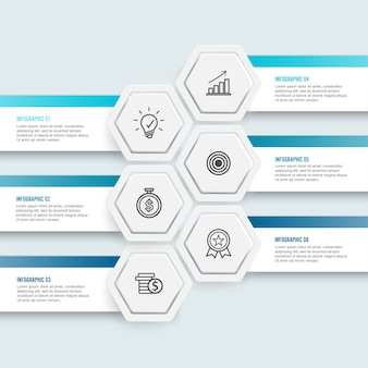 Illustration hexagon infographic 6 options for business.