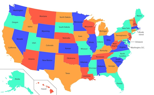 Illustration of a high detail usa map with different colors for each state.
