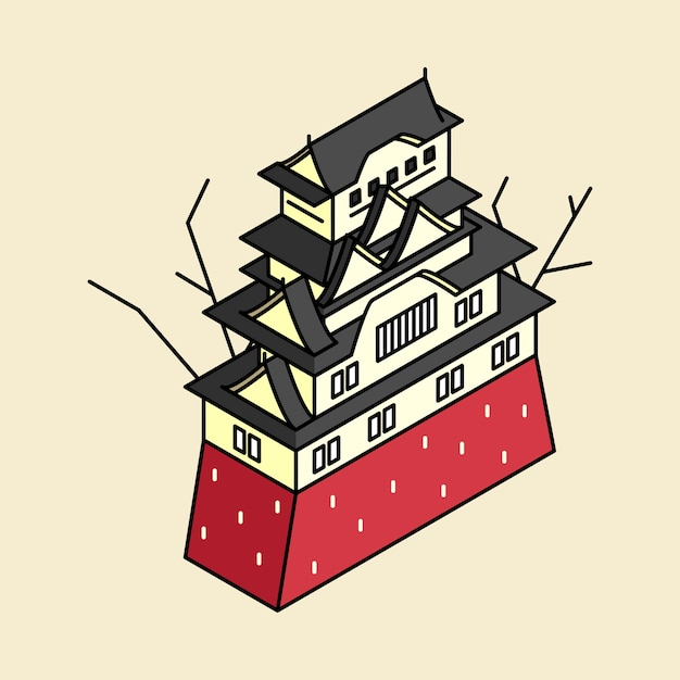 Illustration of himeji castle in japan