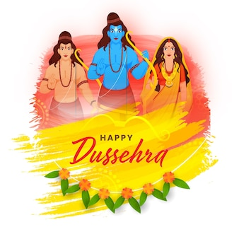 Illustration of hindu mythology rama with his brother laxman, wife sita character and brush stroke effect on white background for happy dussehra.