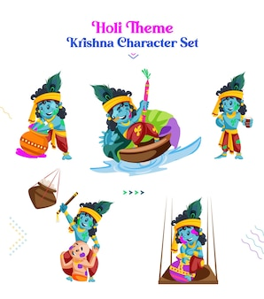 Illustration of holi theme krishna character set