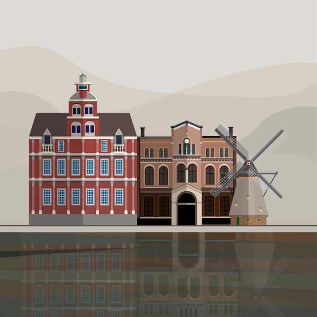 Illustration of holland tourist attraction