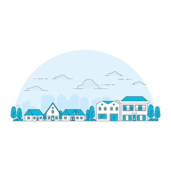 Иллюстрация дома в стиле линии на фоне силуэт города