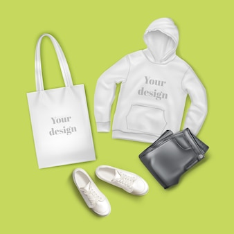 Illustration of hoodie, black jeans, white canvas bag and sneakers, casual fashion clothes and accessory set