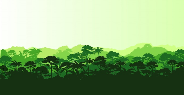 Illustration of horizontal panorama tropical rainforest in silhouette e with trees and mountains, jungle concept.