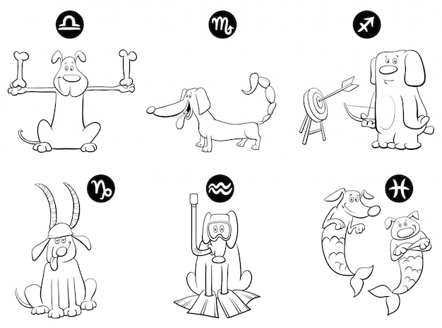 Illustration of horoscope zodiac signs with dogs set