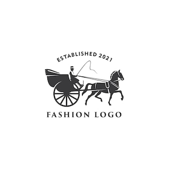 Illustration horse cart drawn classic retro logo design template