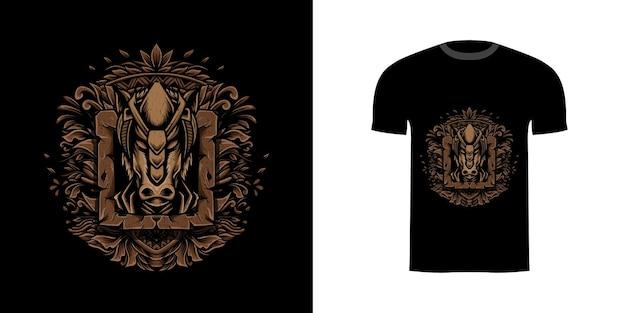 Иллюстрация лошади с гравировкой орнамента для дизайна футболки