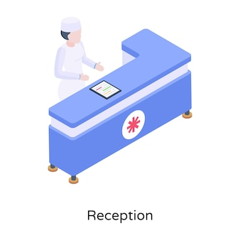 An illustration of hospital reception in isometric design