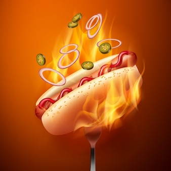 Illustration of hot dog with grilled sausage in bun
