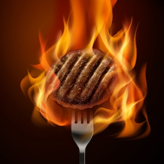 Illustration of hot grilled beef patty on fork with open fire