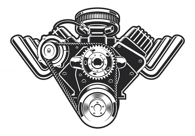Illustration of a hot rod engine on a white background.