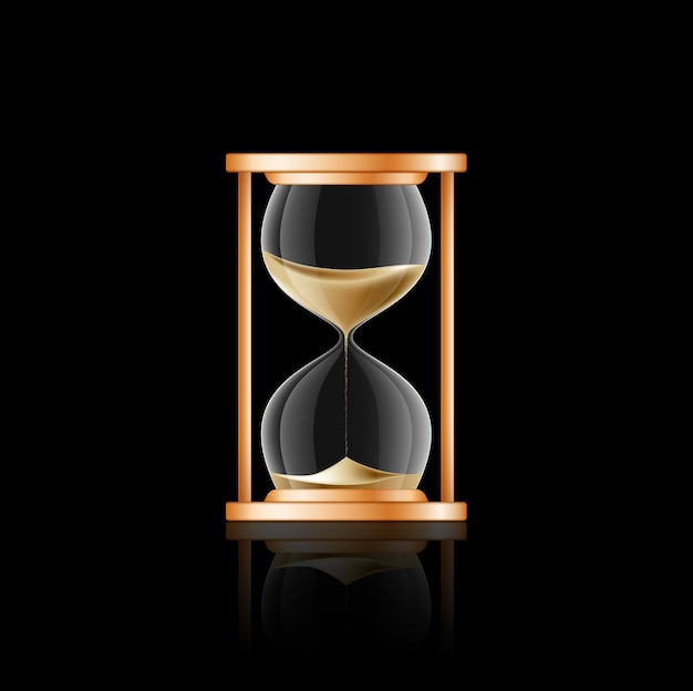 Illustration of hourglass on black background