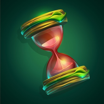 Illustration a hourglass on green background