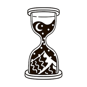 Illustration of hourglass with desert, moon and stars inside. concept of dreams, magic, astrology