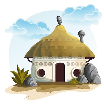Illustration house with cactus and rocks under cloudy sky