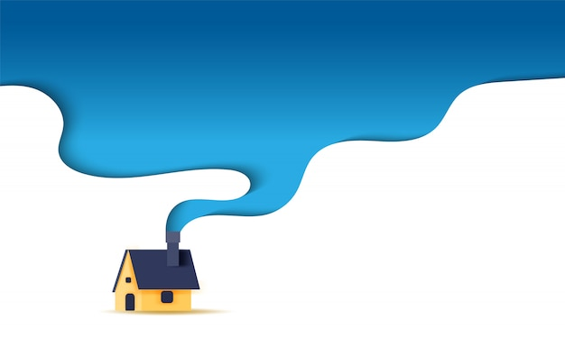 Illustration of house with a smoking chimney shape curve concept.