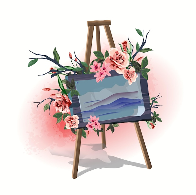 Illustration household items art easel with hand draw picture decorated with flowers.