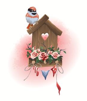 イラストの家庭用品の巣箱、座っている鳥、花で飾られた小さな休日の旗。
