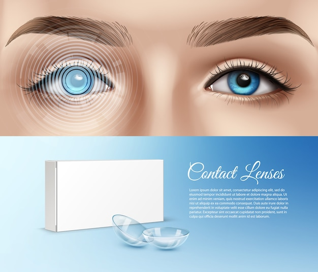 Illustration of human eye awith graphical interface