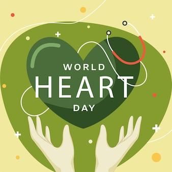 Illustration of human hand protection green heart Premium Vector