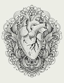 Иллюстрация человеческого сердца на старинные гравюры орнамента