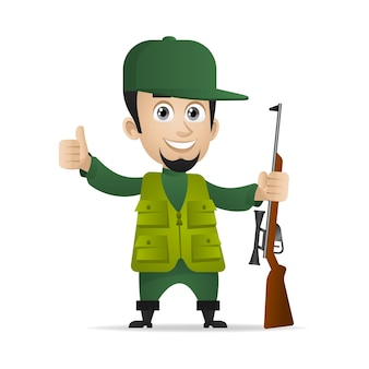 그림, 사냥꾼은 산탄총을 들고 엄지손가락을 위로 표시하고 eps 10 형식을 지정합니다.