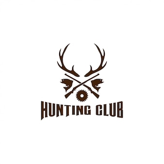 Illustration of hunting logo design template vector