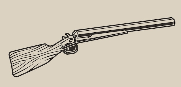 Illustration of a hunting rifle on a light background. isolated