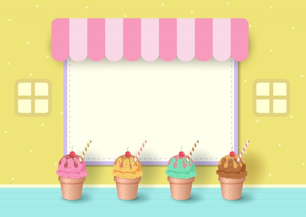 Illustration  of ice cream cone with menu frame on pastel yellow background